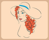 Handdrawn woman wearing wavy red hair and hat. close-up illustration - paths outlined. — Stock Vector