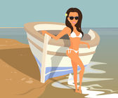 Brunette woman wearing white swimsuit is posing near boat on the beach — Vector de stock