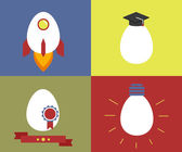 Square icons with egg as rocket, knowledge, rewarding and lamp — Stock Vector