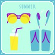 Blue summer card with sunglasses, headphones, cocktail and shoes — Stock Vector #50316339