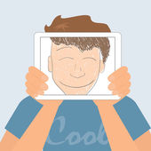 Guy holds tablet pc displaying fun smiling drawing — Stock vektor