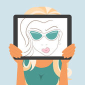 Woman holds tablet pc displaying fashion drawing — Stock Vector