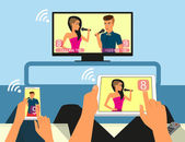 Multiscreen interaction. Man and woman are participating in TV singer show using smartphone and tablet pc — Stock Vector