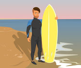 Hipster guy wearing diving suit with yellow surfboard on the beach — Stock Vector