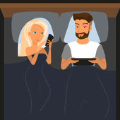 Happy couple using digital devices in bed at night — Stockvector