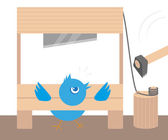 Blue angry bird in guillotine — Vector de stock