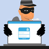 Thief has a key for an account of social networking — Stock Vector