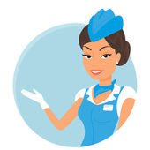Female stewardess wearing blue suit. Round icon — Stock Vector