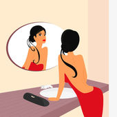 Brunette sensual woman looking at mirrow in WC — Stock Vector