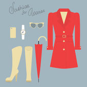 Fashion set of elegant female clothes for autumn — Stockvektor