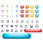 Set of zodiac signs and planets — Stock Vector
