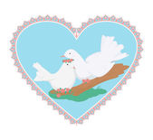 Couple sweety white doves — Stock Vector