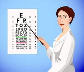 Doctor shows an eye chart — Stock Vector