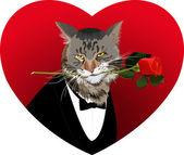 форма сердца, кошка и красная роза — Cтоковый вектор