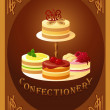 Confectionery. Sign with four kinds of cakes — Stock Vector