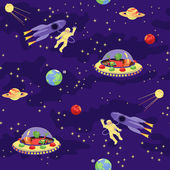 Seamless baby pattern  Space travel — Stok Vektör