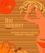 Sunbathing blonde girl background — Stock Vector