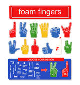 Foam finger set — Stock Vector