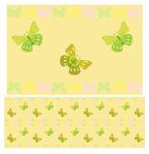 Modèle sans couture de papillons vert clair — Vecteur
