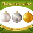 Christmas decorations. Collection of white, silver and golden gl — Stock Vector #49088915