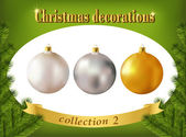 Christmas decorations. Collection of white, silver and golden gl — Stock Vector