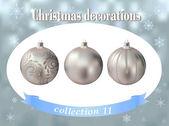 Kerstversiering. verzameling van zilver glas ballsdecorated — Stockvector