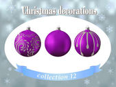 Christmas decorations. Collection of violet glass balls with sil — Stock Vector