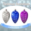 Christmas decorations. Collection of silver, blue and purple con — Stock Vector #50777629