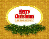Christmas gold background with sparkling frame — Stock Vector
