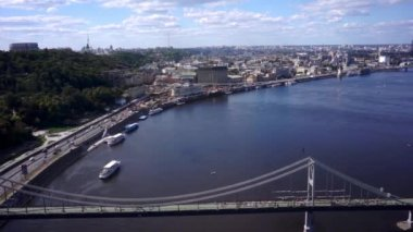 Aerial view. Bridge over the river Dnepr. Kiev. Ukraine — Stock Video