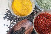 Spices on wood place — Stock Photo