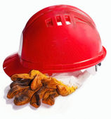Red Helmet and gloves — Stock Photo