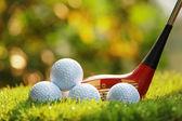 Golf balls and Wooden Driver — ストック写真