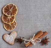 Spices on the flax background — Stock Photo