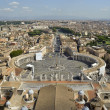 Rome, Italy. Famous Saint Peter's Square in Vatican and aerial view of the city. — Stock Photo