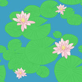 Seamless pattern with yellow lotuses (or water lilies). — Stock Vector
