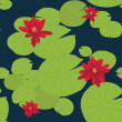 Bright seamless pattern with water lilies in the pond — Stock Vector