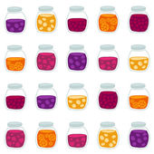 Funny seamless pattern with the colorful fruit jam jars — Stock Vector