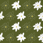 Seamless Pattern with Bright White Magnolia Flowers on a Marshy Green Background — Stock Vector