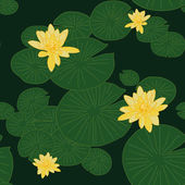 Dark green Seamless pattern with Yellow Lotuses in the pond — Stock Vector