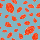 Contrast seamless pattern with red raspberry leaves — Stock Vector