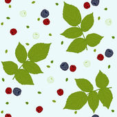 Seamless pattern with raspberries, blackberries and green leaves — Stock Vector