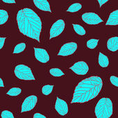 Contrast seamless pattern with blue raspberry leaves on a brown-red field — Stock Vector