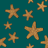 Contrast seamless pattern with orange seafishes on a dark green background — Stock Vector