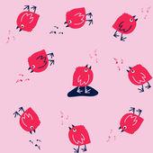 забавные бесшовные модели с пением птиц на розовом фоне — Cтоковый вектор