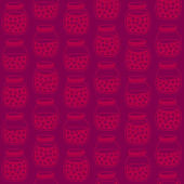 Deep seamless background with the cherry jam jars. Seamless vector pattern. — ストックベクタ