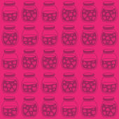 Red Pink seamless background with the Strawberry jam jars. Seamless vector pattern. — ストックベクタ