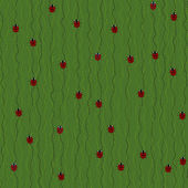 Crawling Ladybugs and Ladybirds on a Dark Green Background. Seamless vector pattern. — Stock Vector