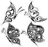 Zwarte en witte vlinders — Stockvector