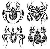 Tribal spiders — Stock Vector